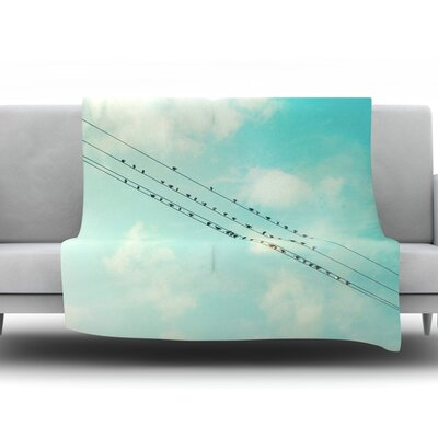 Birds on Wires by Sylvia Cook Fleece Throw Blanket Size: 40 H x 30 W x 1 D
