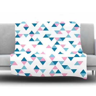 Triangles by Project M Fleece Throw Blanket Size: 40 H x 30 W x 1 D, Color: Pink/Blue