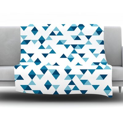 Triangles by Project M Fleece Throw Blanket Color: Blue/White, Size: 80 H x 60 W x 1 D