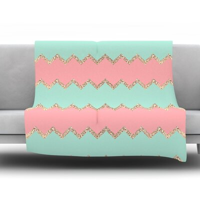 Avalon Chevron by Monika Strigel Fleece Throw Blanket Size: 60 H x 50 W x 1 D, Color: Mint