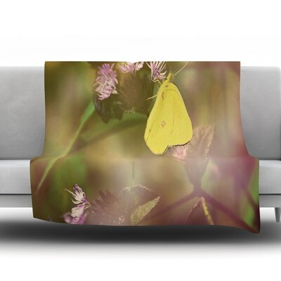 Butterfly Kisses by Robin Dickinson Fleece Throw Blanket Size: 90 H x 90 W x 1 D