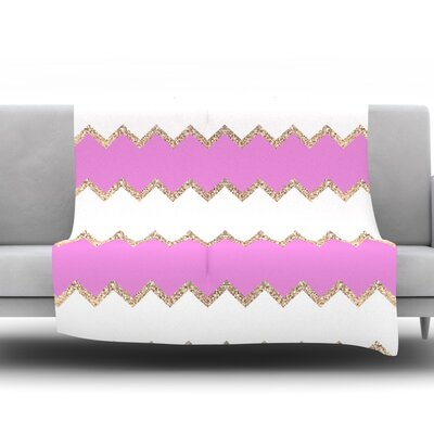 Avalon Chevron by Monika Strigel Fleece Throw Blanket Color: White, Size: 80 H x 60 W x 1 D
