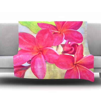 Plumeria by Sylvia Cook Fleece Throw Blanket Size: 80 H x 60 W x 1 D