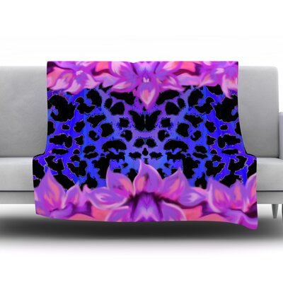 Cerruda by Artist Name Fleece Throw Blanket Size: 90 H x 90 W x 1 D, Color: Pink/Purple