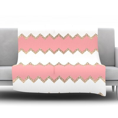 Avalon Chevron by Monika Strigel Fleece Throw Blanket Color: Pink, Size: 80 H x 60 W x 1 D