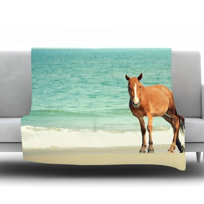 Wild Mustang of Carova by Robin Dickinson Fleece Throw Blanket Size: 90 H x 90 W x 1 D