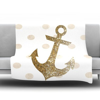 Glitter Anchor by Nika Martinez Fleece Throw Blanket Size: 40 H x 30 W x 1 D