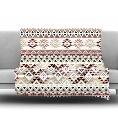 Tribal Native in Pastel Brown by Nika Martinez Fleece Throw Blanket Size: 60 H x 50 W x 1 D