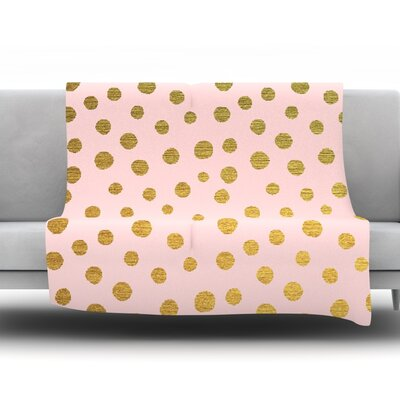Golden Dots by Nika Martinez Fleece Throw Blanket Size: 90 H x 90 W x 1 D