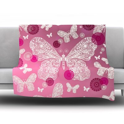 Butterfly Dreams by Monika Strigel Fleece Throw Blanket Size: 40 H x 30 W x 1 D, Color: Pink/Magenta