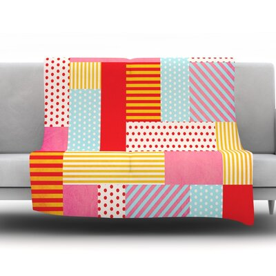 Geometric Pop by Louise Machado Fleece Throw Blanket Size: 90 H x 90 W x 1 D