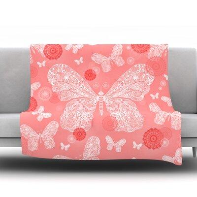 Butterfly Dreams by Monika Strigel Fleece Throw Blanket Color: Pink/White, Size: 80 H x 60 W x 1 D