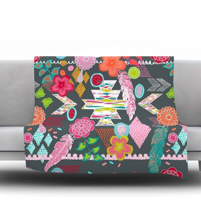 Aztec Boho by Anneline Sophia Fleece Throw Blanket Size: 40 x 30, Color: Tropical