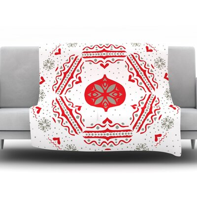 Snowjoy by Miranda Mol Fleece Throw Blanket Size: 90 H x 90 W x 1 D, Color: White/Red
