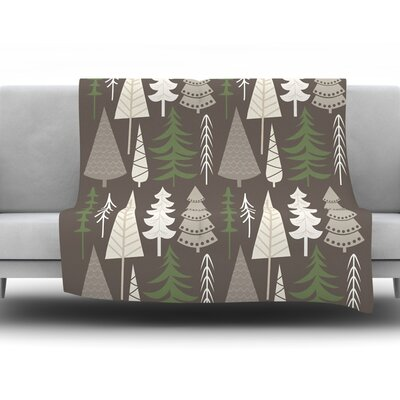 Happy Forest Fleece Throw Blanket Size: 40 H x 30 W x 1 D, Color: Brown
