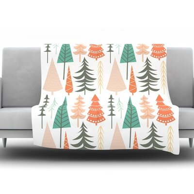 Happy Forest Fleece Throw Blanket Color: Orange, Size: 60 H x 50 W x 1 D