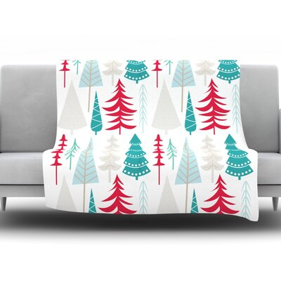 Happy Forest Fleece Throw Blanket Size: 60 H x 50 W x 1 D, Color: Red