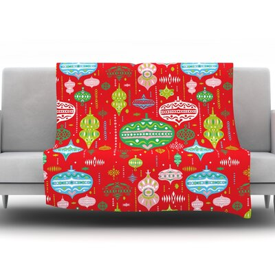 Ornate by Miranda Mol Fleece Throw Blanket Size: 60 H x 50 W x 1 D, Color: Red
