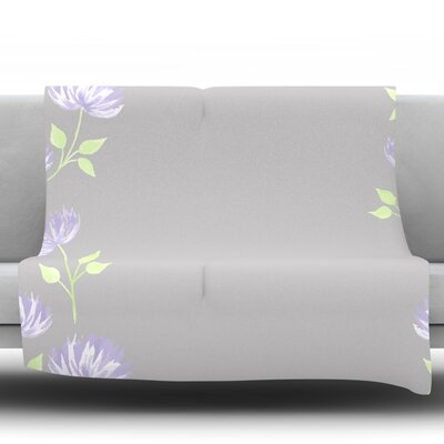 Flower II by Louise Fleece Throw Blanket Size: 90 H x 90 W x 1 D