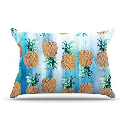 Pineapple Beach by Nikki Strange Featherweight Pillow Sham Size: Queen, Fabric: Woven Polyester