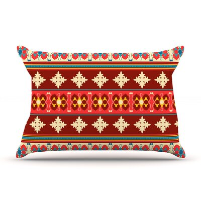 Borders by Nandita Singh Featherweight Pillow Sham Size: King, Color: Red/Maroon, Fabric: Woven Polyester