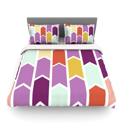Pellerina Design Orchid Geometric Chevron Purple Arrows Featherweight Duvet Cover Size: Full/Queen, Fabric: Lightweight Polyester