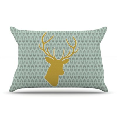 Pellerina Design Winter Deer Pillow Case Color: Green/Yellow