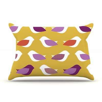 Golden Orchid Birds by Pellerina Design Featherweight Pillow Sham Size: Queen, Fabric: Woven Polyester