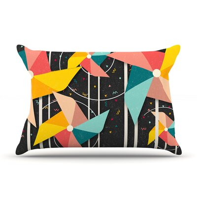 Danny Ivan Colorful Pinwheels Black AbstractFeatherweight Sham Size: King, Fabric: Woven Polyester