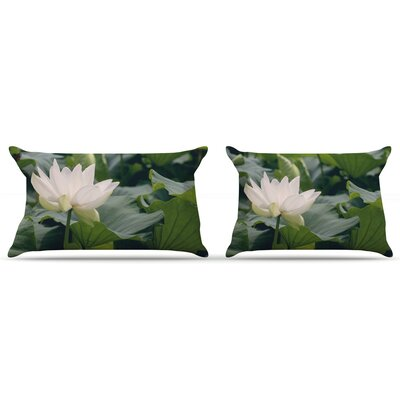 White Lotus by Catherine McDonald Featherweight Pillow Sham Size: King, Fabric: Woven Polyester