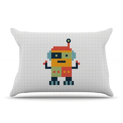 Happy Robot by Daisy Beatrice Featherweight Pillow Sham Size: Queen, Fabric: Woven Polyester