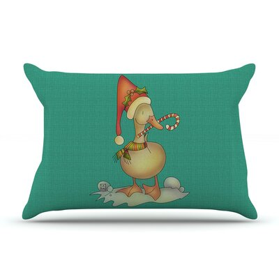 Xmas Duck by Carina Povarchik Featherweight Pillow Sham Size: Queen, Fabric: Woven Polyester