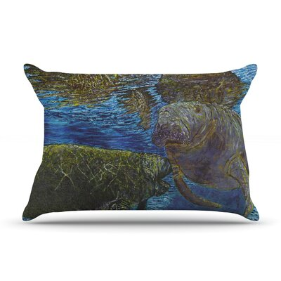 Manatees by David Joyner Featherweight Pillow Sham Size: King, Fabric: Woven Polyester