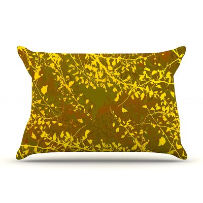 Iris Lehnhardt Twigs Silhouette Pillow Case Color: Brown/Yellow