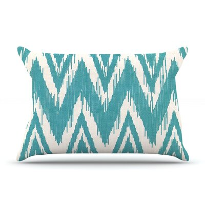 Tribal Chevron by Heidi Jennings Featherweight Pillow Sham Size: King, Color: Aqua, Fabric: Woven Polyester