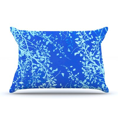 Twigs Silhouette by Iris Lehnhardt Woven Pillow Sham Size: Queen, Color: Blue