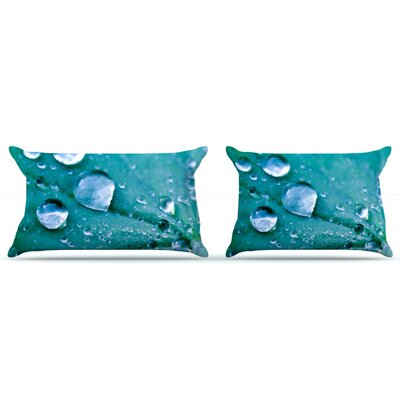 Water Droplets by Iris Lehnhardt Featherweight Pillow Sham Color: Aqua, Size: Queen, Fabric: Woven Polyester