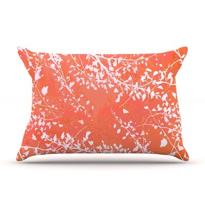 Twigs Silhouette by Iris Lehnhardt Woven Pillow Sham Size: King, Color: Coral
