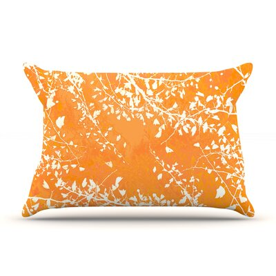 Twigs Silhouette by Iris Lehnhardt Woven Pillow Sham Size: Queen, Color: Orange