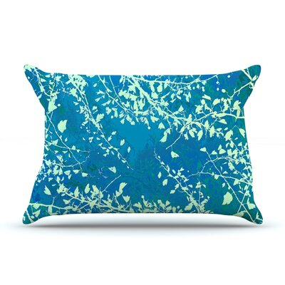 Twigs Silhouette by Iris Lehnhardt Woven Pillow Sham Size: King, Color: Teal