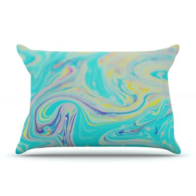 Aqua Swirl by Ingrid Beddoes Featherweight Pillow Sham Size: King, Fabric: Woven Polyester
