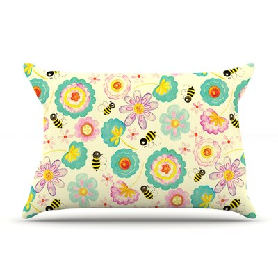 Floral Bee by Louise Machado Featherweight Pillow Sham Size: Queen, Fabric: Cotton