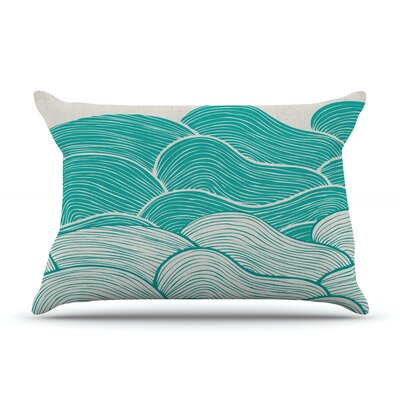 Pom Graphic Design The Calm And Stormy Seas Pillow Case Color: Green/Teal