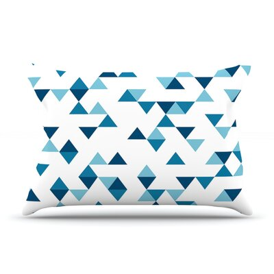 Project M Triangles Blue Pillow Case Color: Blue/Navy