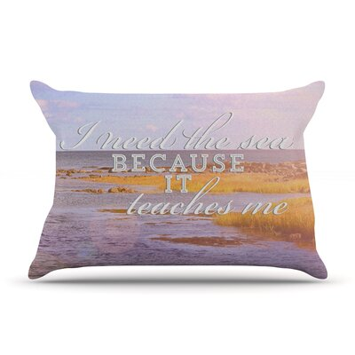 Rachel Burbee 'I Need The Sea' Typography Pillow Case