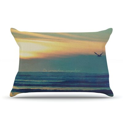Go Somewhere by Robin Dickinson Featherweight Pillow Sham Size: Queen, Fabric: Woven Polyester