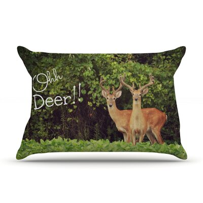 Ohh Deer by Robin Dickinson Featherweight Pillow Sham Size: Queen, Fabric: Woven Polyester