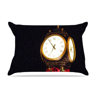 Xmas Clock by Robin Dickinson Featherweight Pillow Sham Size: Queen, Fabric: Woven Polyester