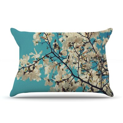 White Magnolias by Sylvia Cook Featherweight Pillow Sham Size: Queen, Fabric: Woven Polyester