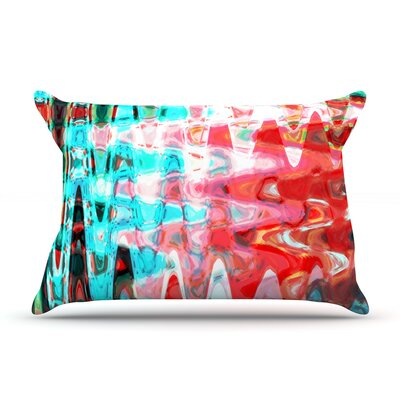 Aqua Wave by Suzanne Carter Featherweight Pillow Sham Size: King, Fabric: Woven Polyester
